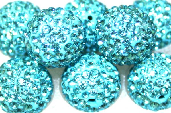 10mm Turquoise 115 Stone  Pave Crystal Beads- 2 Hole PCB10-115-007